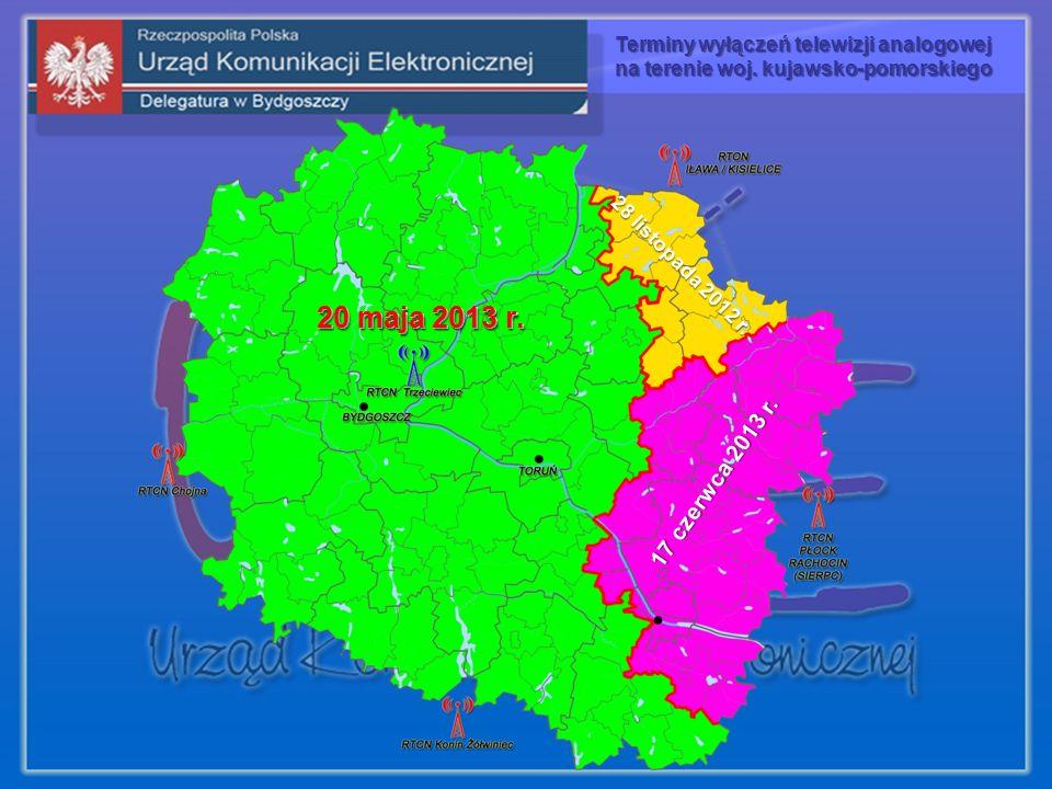 20 maja 2013 r. 28 listopada 2012 r. 17 czerwca 2013 r. 20 maja 2013 r. Terminy wyłączeń telewizji analogowej na terenie woj. kujawsko-pomorskiego