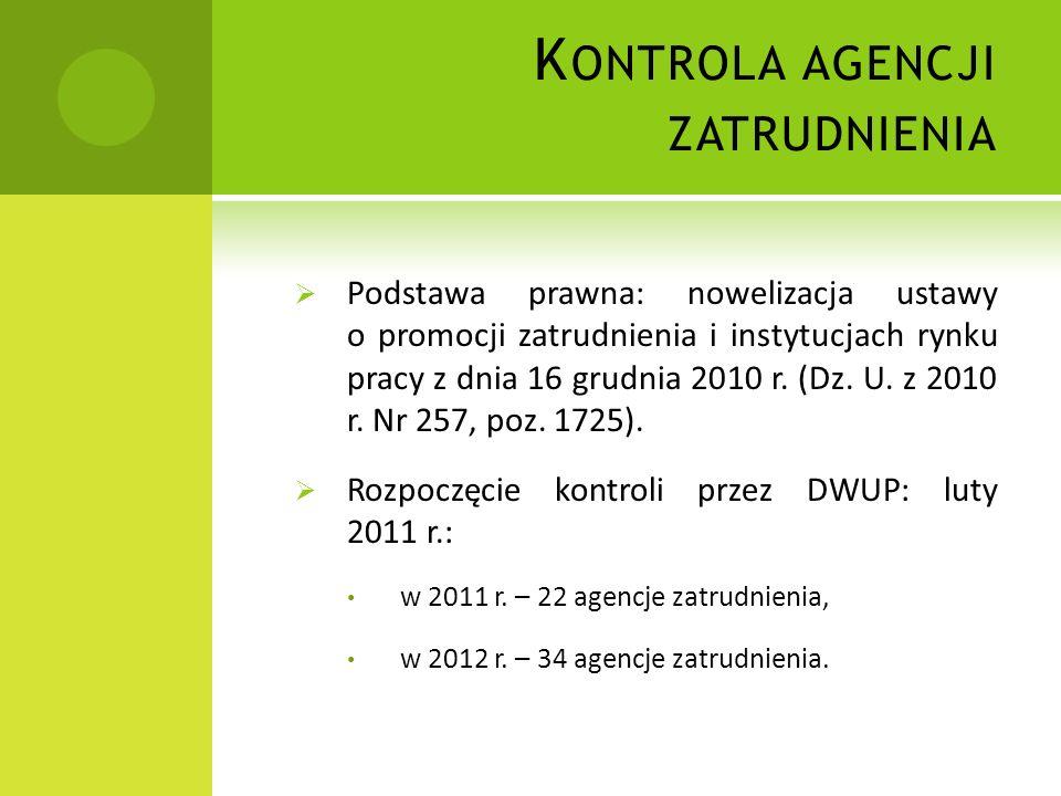 Podstawa prawna: nowelizacja ustawy o promocji zatrudnienia i instytucjach rynku pracy z dnia 16 grudnia 2010 r.