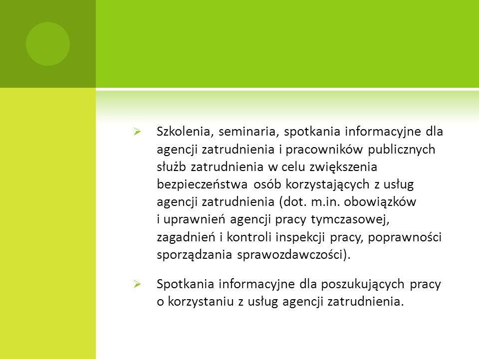 Szkolenia, seminaria, spotkania informacyjne dla agencji zatrudnienia i pracowników publicznych służb zatrudnienia w celu zwiększenia bezpieczeństwa osób korzystających z usług agencji zatrudnienia (dot.