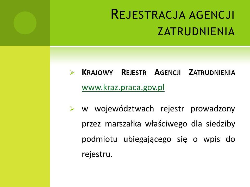 R EJESTRACJA AGENCJI ZATRUDNIENIA K RAJOWY R EJESTR A GENCJI Z ATRUDNIENIA www.kraz.praca.gov.pl www.kraz.praca.gov.pl w województwach rejestr prowadzony przez marszałka właściwego dla siedziby podmiotu ubiegającego się o wpis do rejestru.