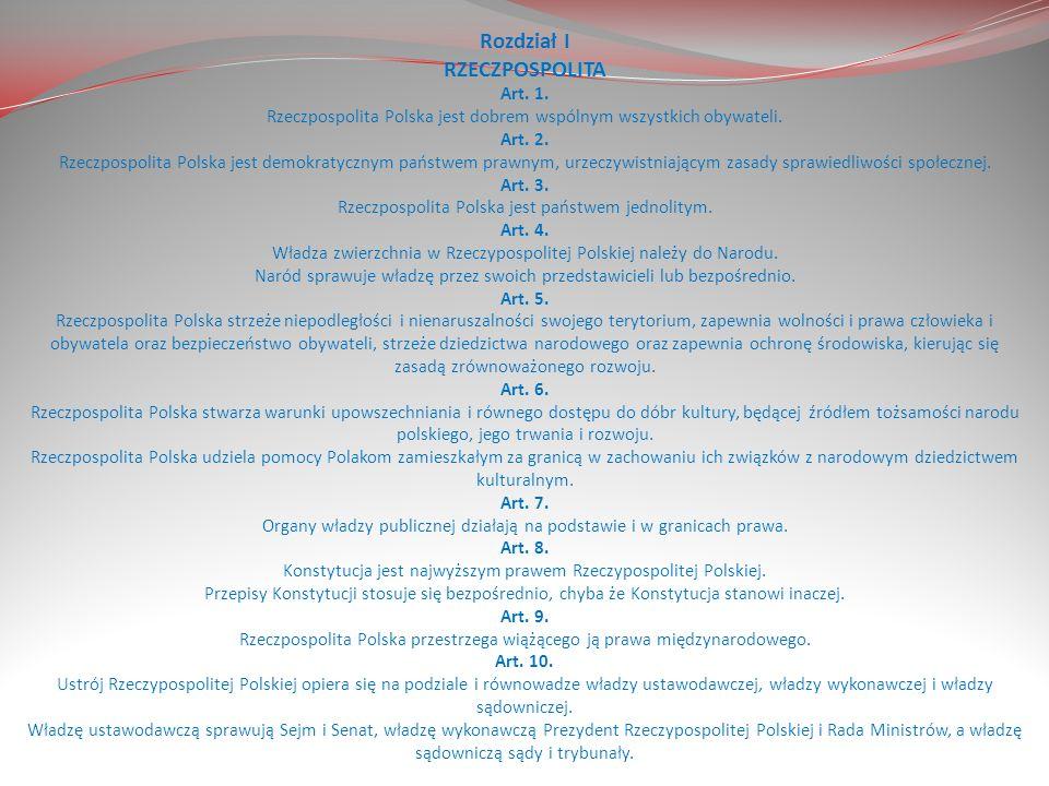 Rozdział -konstytucja dzieli się na 13 rozdziałów.
