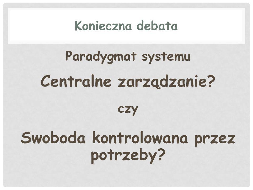Konieczna debata Paradygmat systemu Centralne zarządzanie? czy Swoboda kontrolowana przez potrzeby?