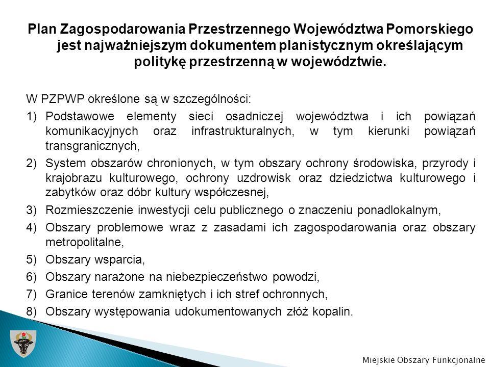 W strukturze przestrzennej województwa pomorskiego w PZPWP szczególnie wyróżnione zostały: 1.Złożona i wielofunkcyjna aglomeracja nadmorska kształtująca się jako metropolia (tzw.