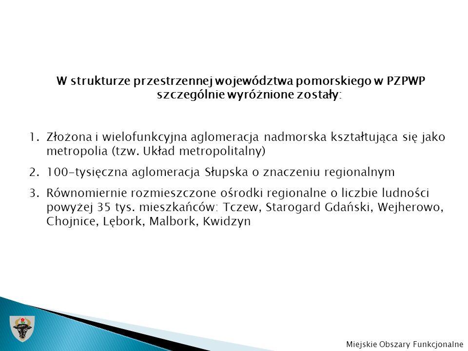 W strukturze przestrzennej województwa pomorskiego w PZPWP szczególnie wyróżnione zostały: 1.Złożona i wielofunkcyjna aglomeracja nadmorska kształtują