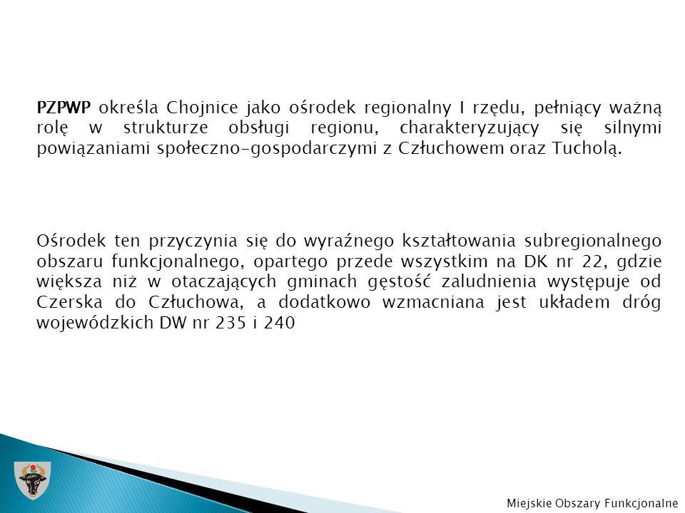 Ustalony zgodnie z PZPWP chojnicko-człuchowski ośrodek regionalny składa się z następujących ośrodków gminnych: -Miasto Chojnice -Miasto Człuchów -Gmina Chojnice -Gmina Człuchów Miejskie Obszary Funkcjonalne