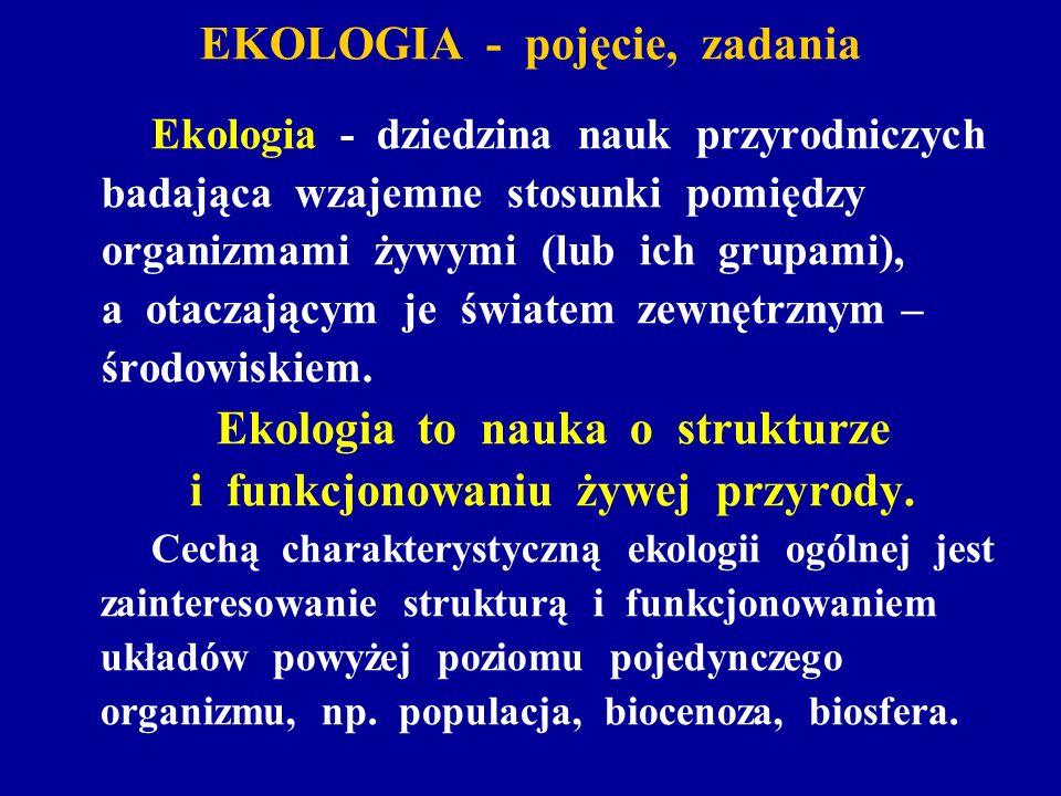 EKOLOGIA - pojęcie, zadania Ekologia - dziedzina nauk przyrodniczych badająca wzajemne stosunki pomiędzy organizmami żywymi (lub ich grupami), a otacz
