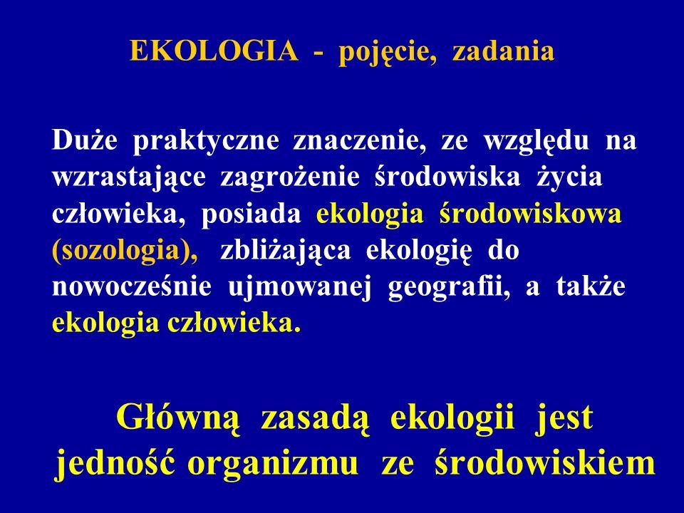 EKOLOGIA - pojęcie, zadania Duże praktyczne znaczenie, ze względu na wzrastające zagrożenie środowiska życia człowieka, posiada ekologia środowiskowa