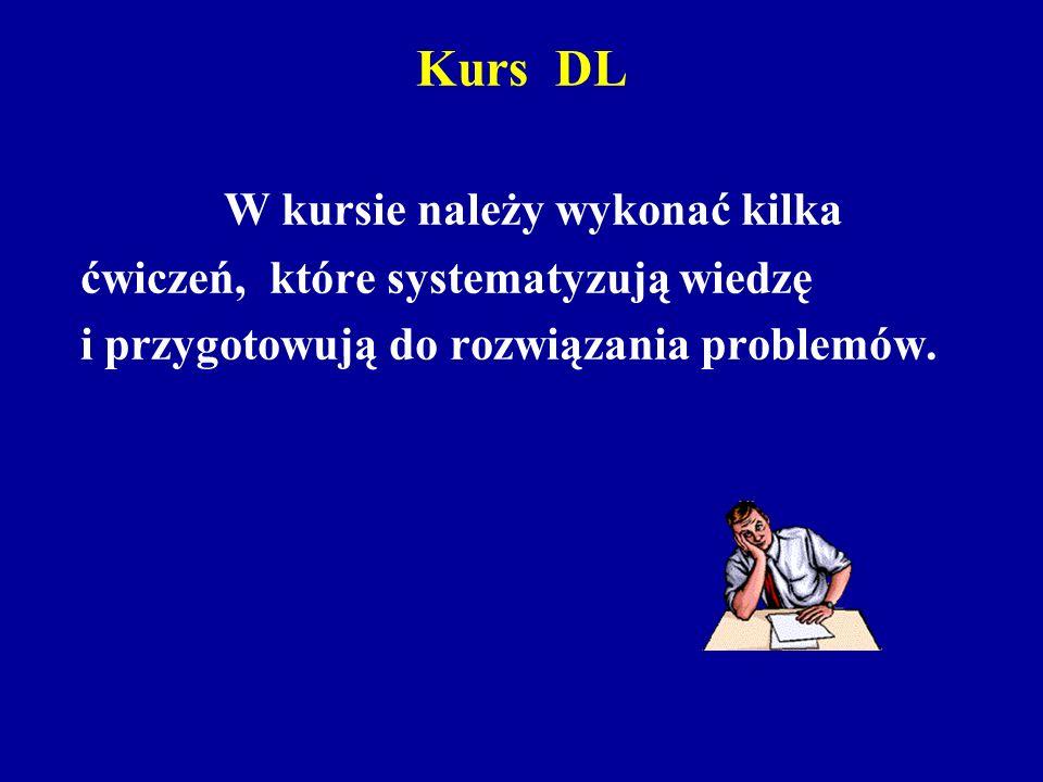 Kurs DL W kursie należy wykonać kilka ćwiczeń, które systematyzują wiedzę i przygotowują do rozwiązania problemów.