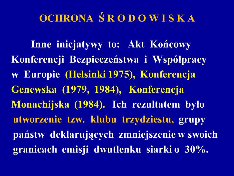 OCHRONA Ś R O D O W I S K A Inne inicjatywy to: Akt Końcowy Konferencji Bezpieczeństwa i Współpracy w Europie (Helsinki 1975), Konferencja Genewska (1
