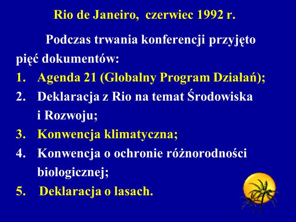 Rio de Janeiro, czerwiec 1992 r. Podczas trwania konferencji przyjęto pięć dokumentów: 1. Agenda 21 (Globalny Program Działań); 2. Deklaracja z Rio na