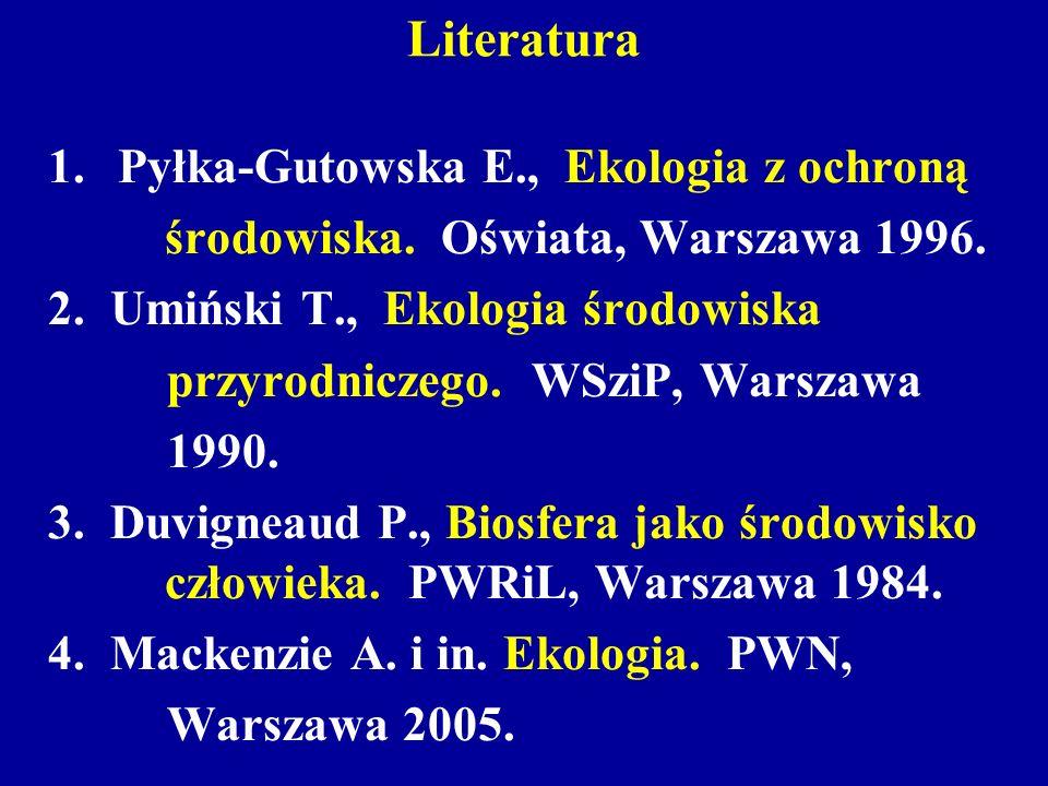 Literatura 1.Pyłka-Gutowska E., Ekologia z ochroną środowiska. Oświata, Warszawa 1996. 2. Umiński T., Ekologia środowiska przyrodniczego. WSziP, Warsz