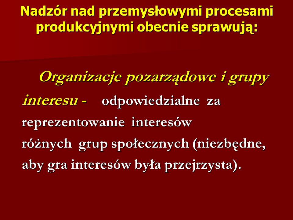 Nadzór nad przemysłowymi procesami produkcyjnymi obecnie sprawują: Organizacje pozarządowe i grupy Organizacje pozarządowe i grupy interesu - odpowied