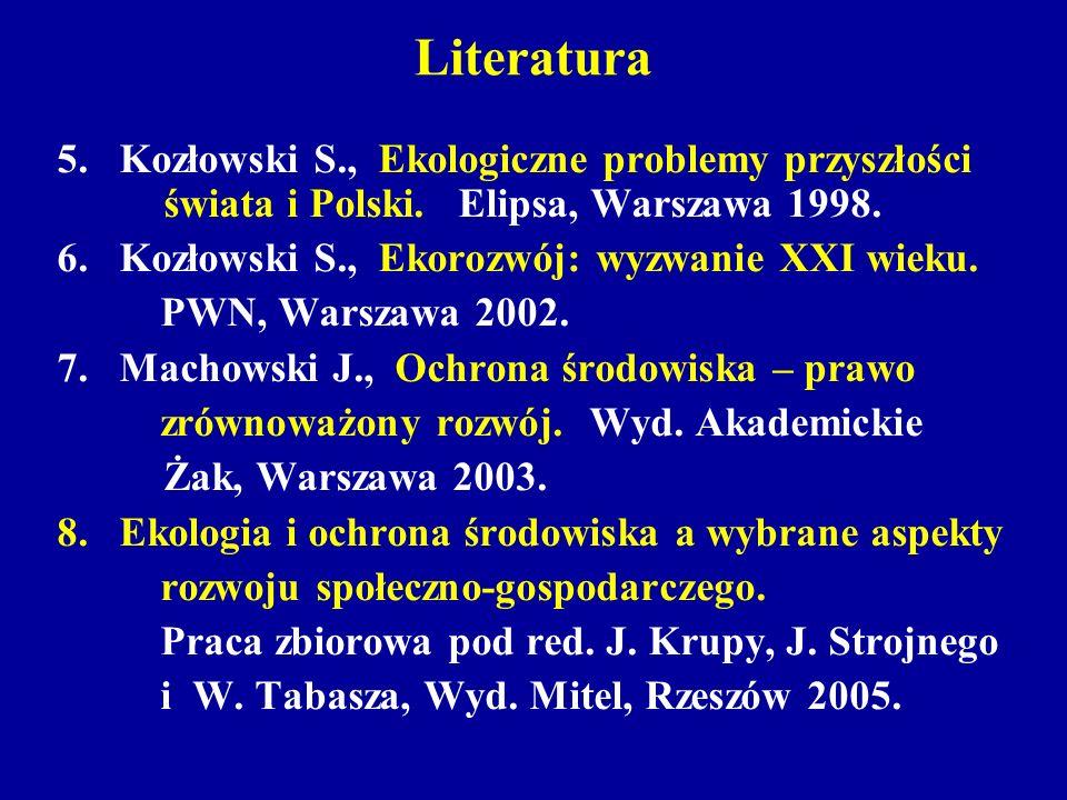 Literatura 5. Kozłowski S., Ekologiczne problemy przyszłości świata i Polski. Elipsa, Warszawa 1998. 6. Kozłowski S., Ekorozwój: wyzwanie XXI wieku. P
