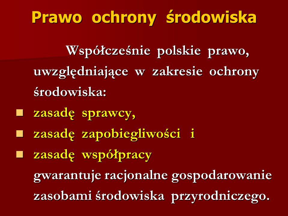 Prawo ochrony środowiska Współcześnie polskie prawo, Współcześnie polskie prawo, uwzględniające w zakresie ochrony uwzględniające w zakresie ochrony ś