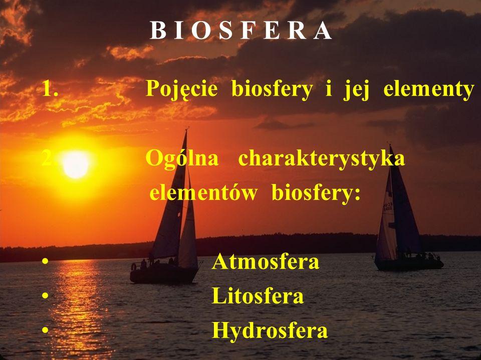 B I O S F E R A 1. Pojęcie biosfery i jej elementy 2. Ogólna charakterystyka elementów biosfery: Atmosfera Litosfera Hydrosfera