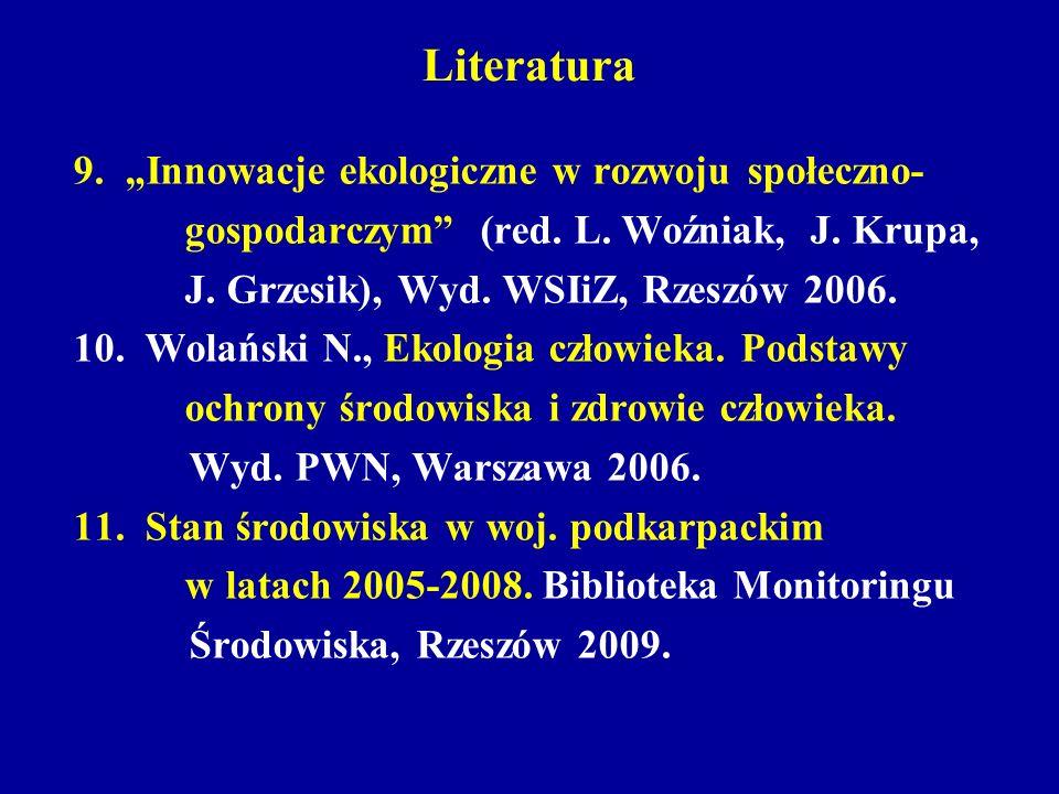 Literatura 9. Innowacje ekologiczne w rozwoju społeczno- gospodarczym (red. L. Woźniak, J. Krupa, J. Grzesik), Wyd. WSIiZ, Rzeszów 2006. 10. Wolański