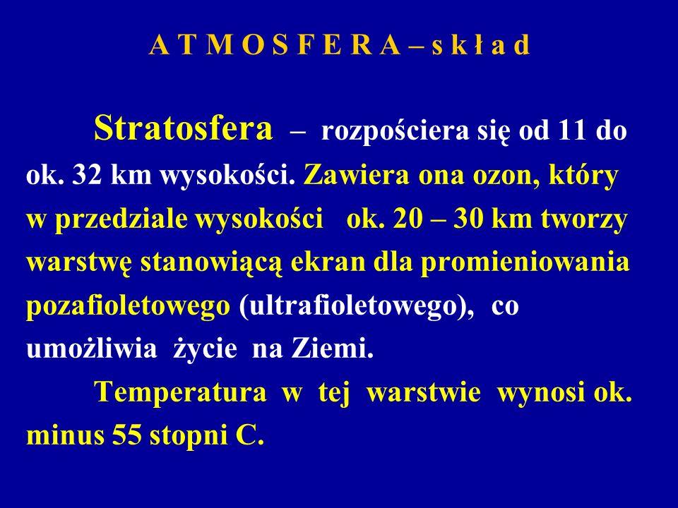 A T M O S F E R A – s k ł a d Stratosfera – rozpościera się od 11 do ok. 32 km wysokości. Zawiera ona ozon, który w przedziale wysokości ok. 20 – 30 k