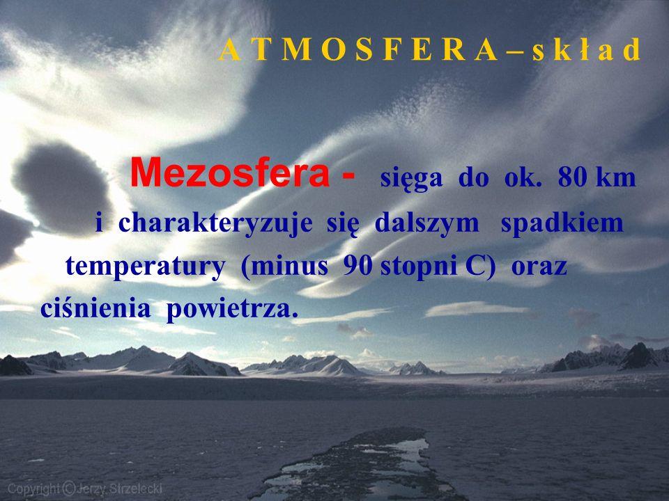 A T M O S F E R A – s k ł a d Mezosfera - sięga do ok. 80 km i charakteryzuje się dalszym spadkiem temperatury (minus 90 stopni C) oraz ciśnienia powi