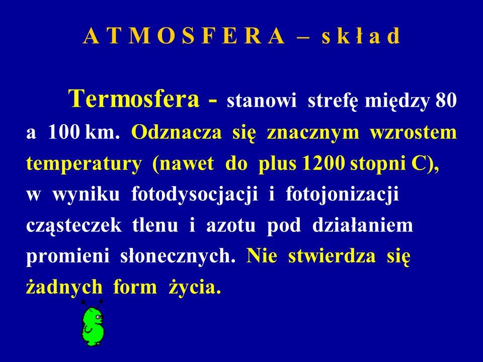 A T M O S F E R A – s k ł a d Termosfera - stanowi strefę między 80 a 100 km. Odznacza się znacznym wzrostem temperatury (nawet do plus 1200 stopni C)