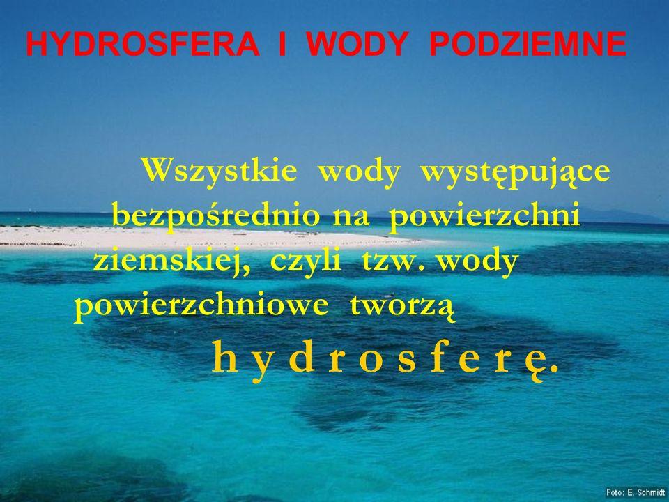 HYDROSFERA I WODY PODZIEMNE Wszystkie wody występujące bezpośrednio na powierzchni ziemskiej, czyli tzw. wody powierzchniowe tworzą h y d r o s f e r