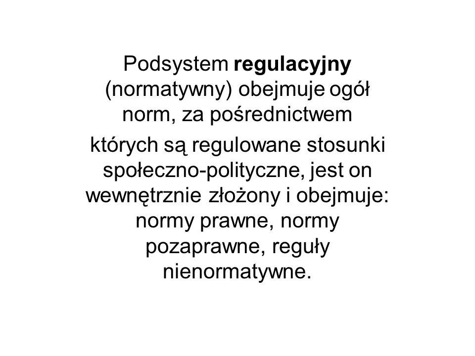 Podsystem regulacyjny (normatywny) obejmuje ogół norm, za pośrednictwem których są regulowane stosunki społeczno-polityczne, jest on wewnętrznie złożo
