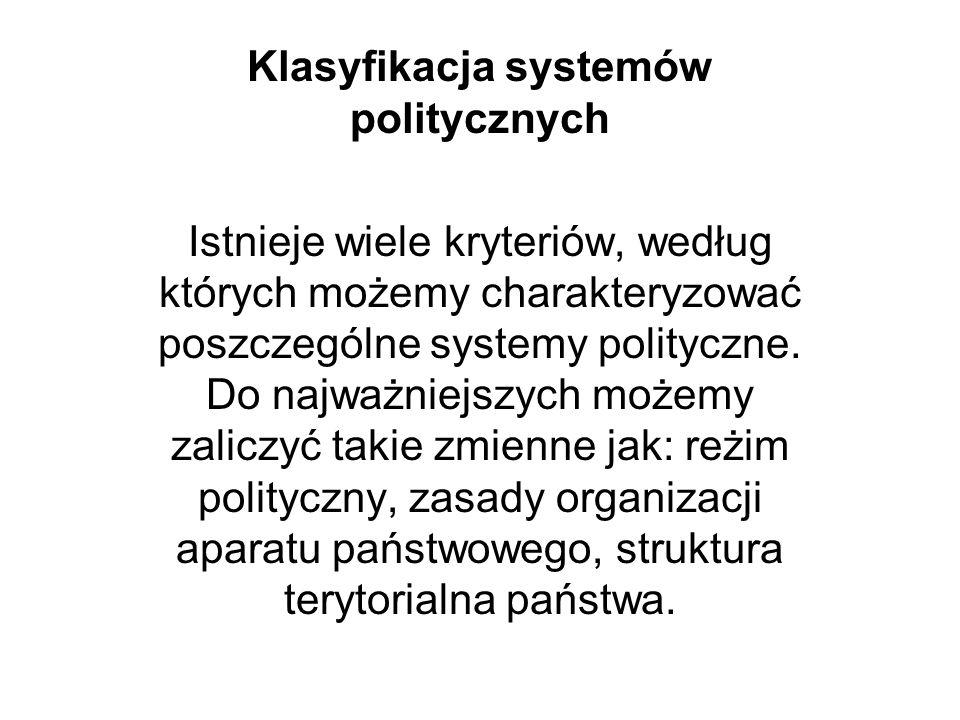 Klasyfikacja systemów politycznych Istnieje wiele kryteriów, według których możemy charakteryzować poszczególne systemy polityczne. Do najważniejszych