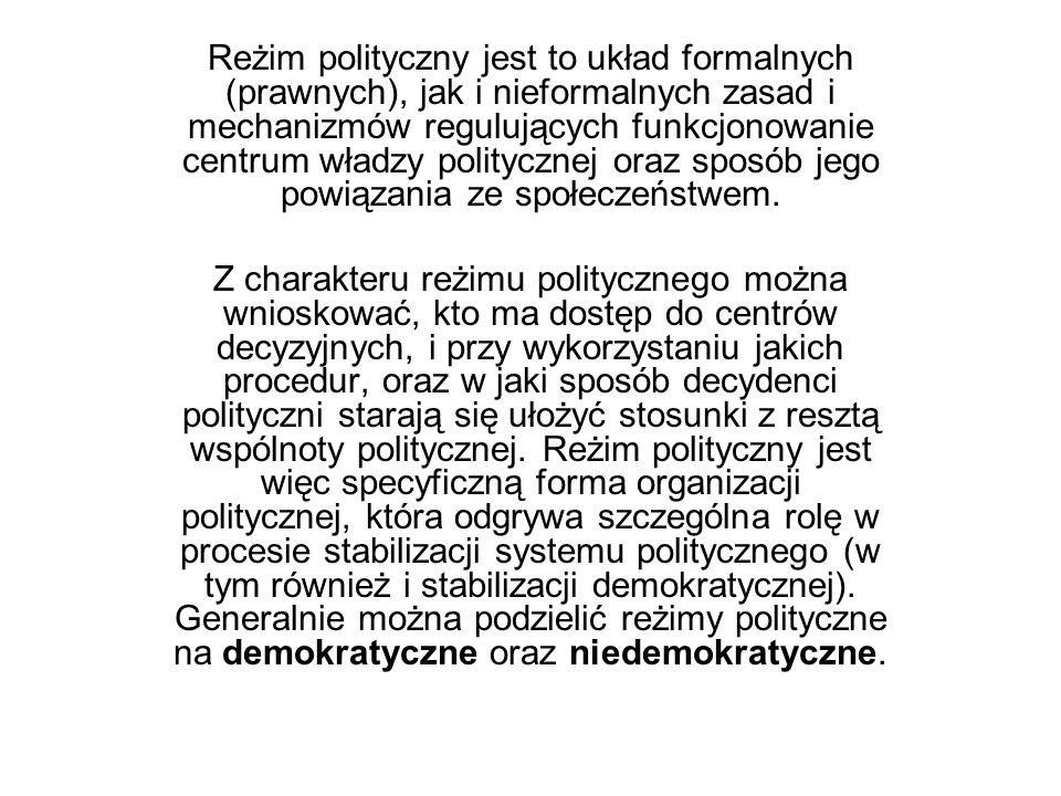 Reżim polityczny jest to układ formalnych (prawnych), jak i nieformalnych zasad i mechanizmów regulujących funkcjonowanie centrum władzy politycznej o