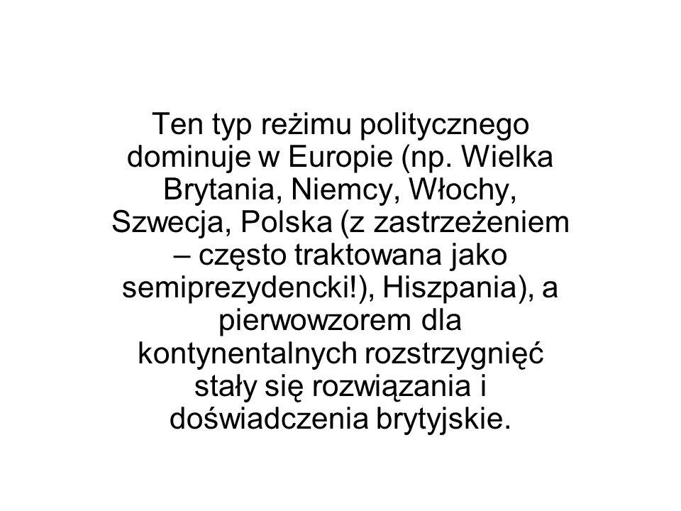 Ten typ reżimu politycznego dominuje w Europie (np. Wielka Brytania, Niemcy, Włochy, Szwecja, Polska (z zastrzeżeniem – często traktowana jako semipre