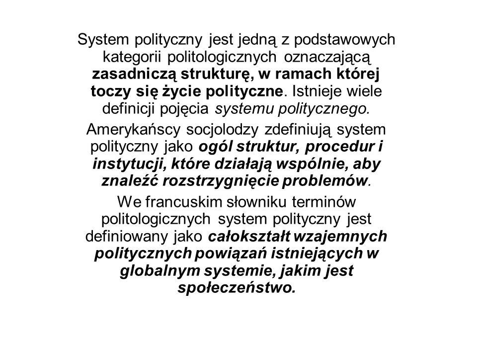 System polityczny jest jedną z podstawowych kategorii politologicznych oznaczającą zasadniczą strukturę, w ramach której toczy się życie polityczne. I