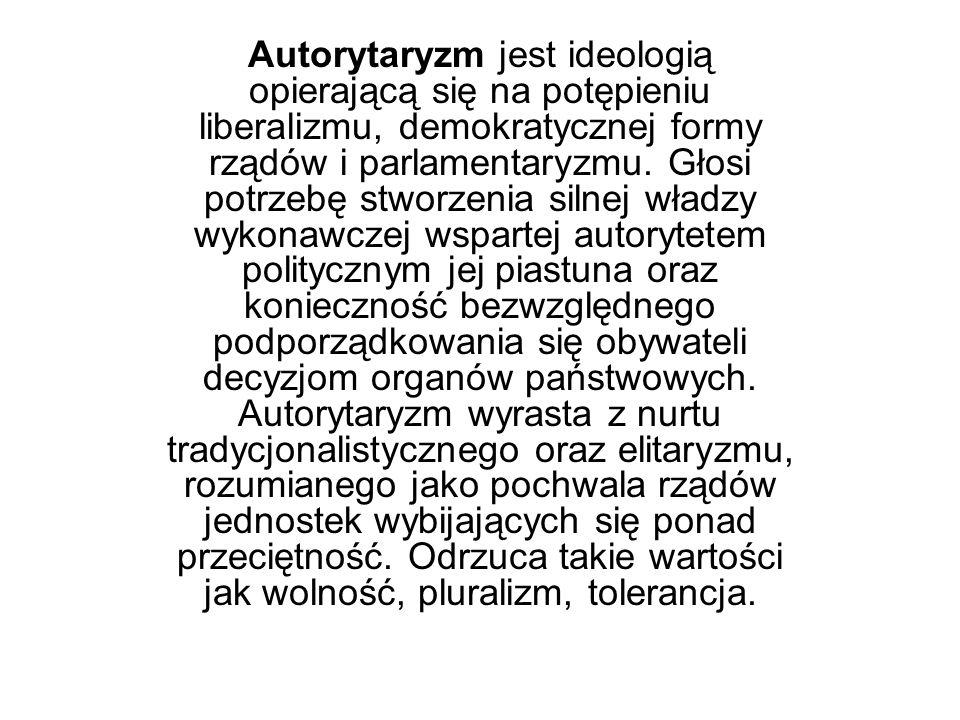 Autorytaryzm jest ideologią opierającą się na potępieniu liberalizmu, demokratycznej formy rządów i parlamentaryzmu. Głosi potrzebę stworzenia silnej