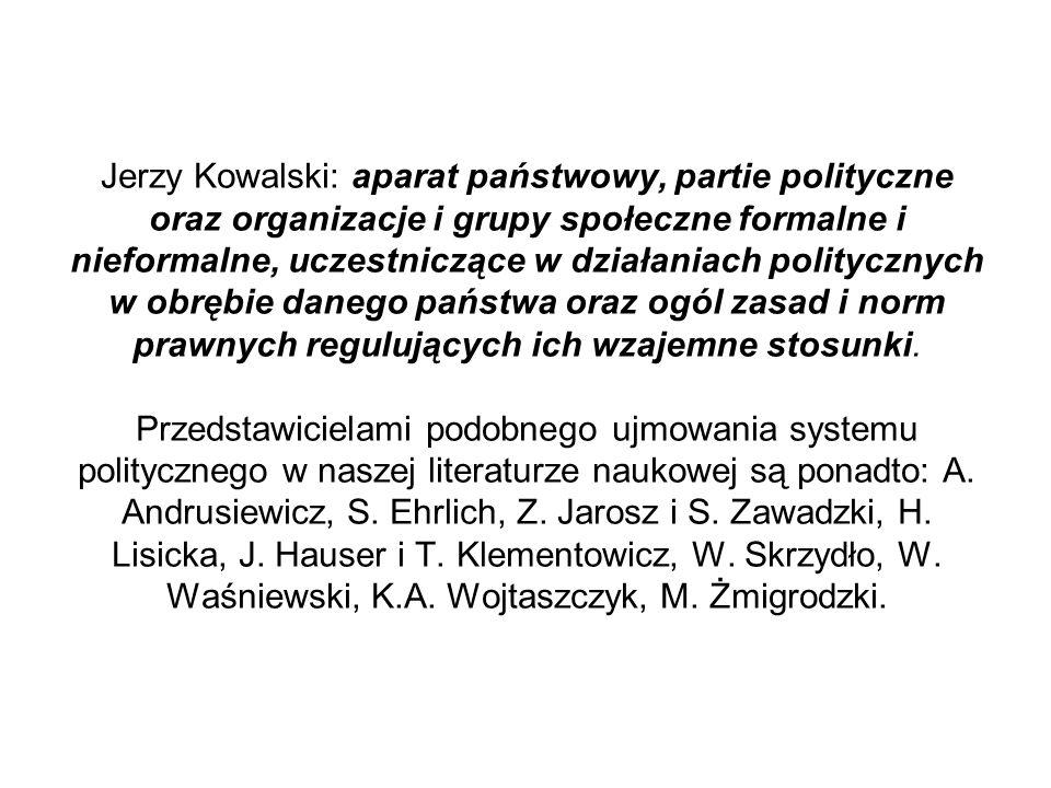 Jerzy Kowalski: aparat państwowy, partie polityczne oraz organizacje i grupy społeczne formalne i nieformalne, uczestniczące w działaniach politycznyc