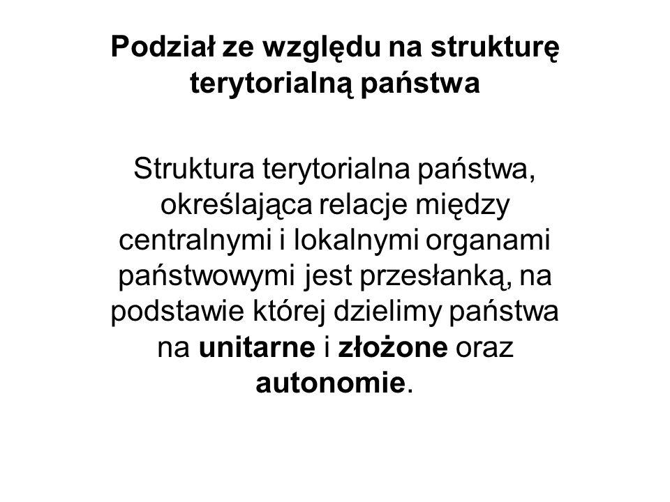 Podział ze względu na strukturę terytorialną państwa Struktura terytorialna państwa, określająca relacje między centralnymi i lokalnymi organami państ