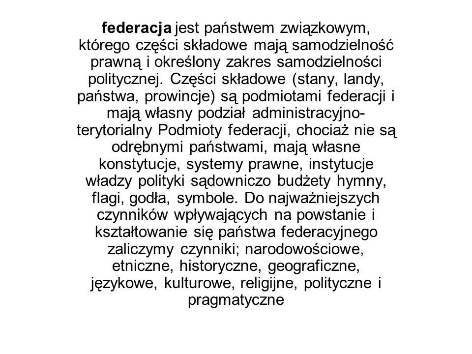 federacja jest państwem związkowym, którego części składowe mają samodzielność prawną i określony zakres samodzielności politycznej. Części składowe (