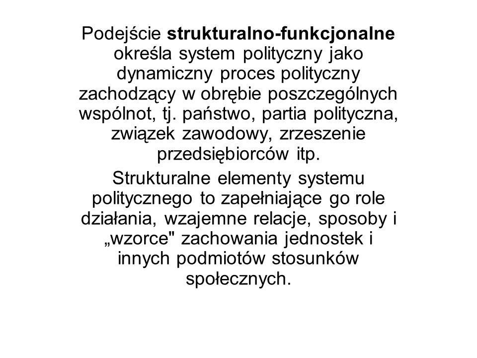 Podejście strukturalno-funkcjonalne określa system polityczny jako dynamiczny proces polityczny zachodzący w obrębie poszczególnych wspólnot, tj. pańs