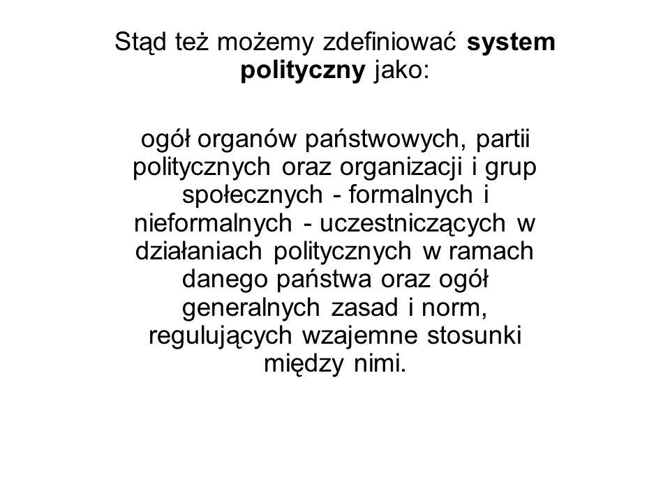 Stąd też możemy zdefiniować system polityczny jako: ogół organów państwowych, partii politycznych oraz organizacji i grup społecznych - formalnych i n