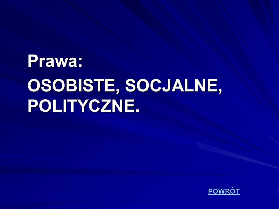 Prawa: OSOBISTE, SOCJALNE, POLITYCZNE. POWRÓT