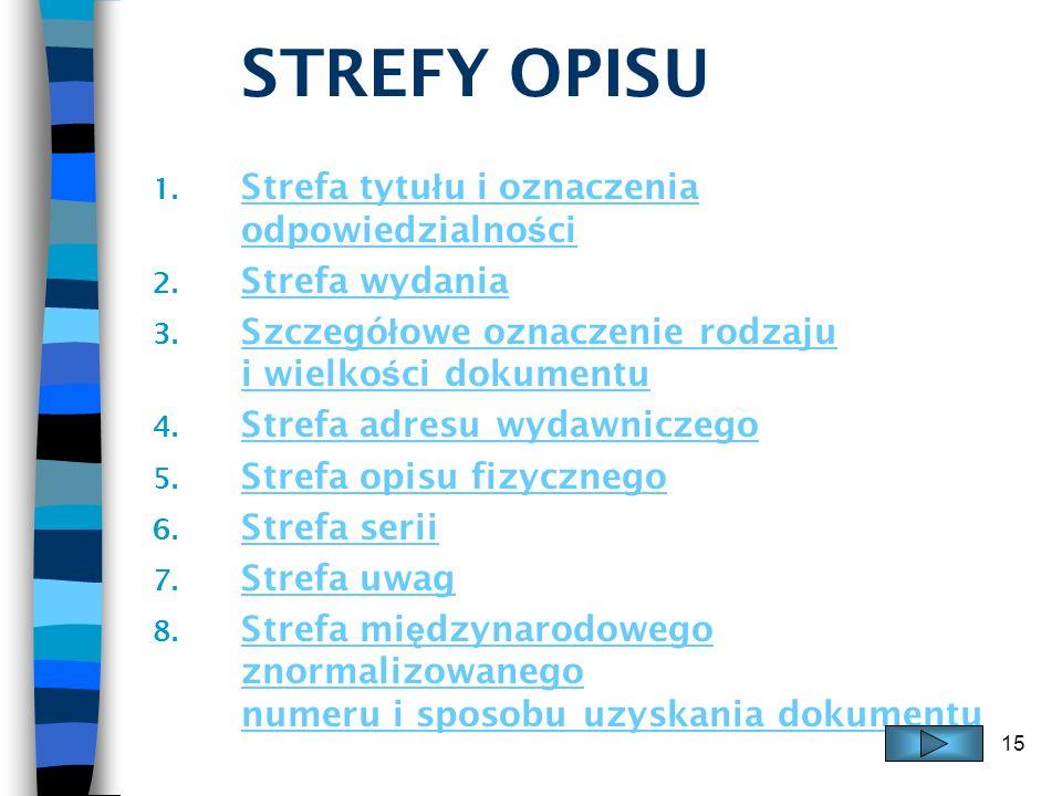 15 STREFY OPISU 1. Strefa tytu ł u i oznaczenia odpowiedzialno ś ci Strefa tytu ł u i oznaczenia odpowiedzialno ś ci 2. Strefa wydania Strefa wydania