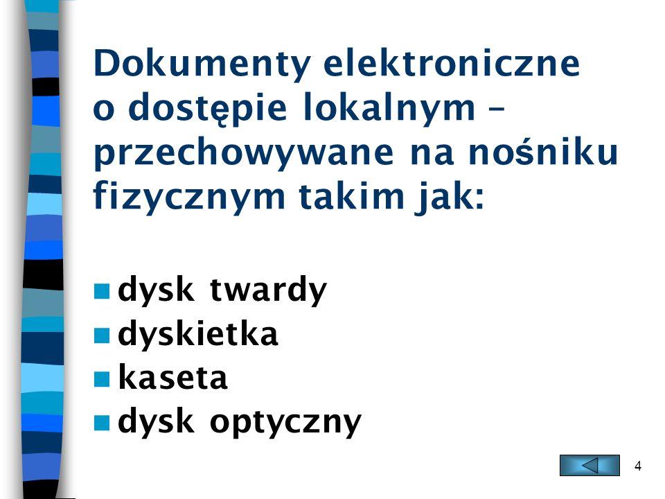 4 Dokumenty elektroniczne o dost ę pie lokalnym – przechowywane na no ś niku fizycznym takim jak: dysk twardy dyskietka kaseta dysk optyczny