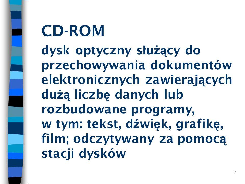 7 CD-ROM dysk optyczny s ł u żą cy do przechowywania dokumentów elektronicznych zawieraj ą cych du żą liczb ę danych lub rozbudowane programy, w tym: