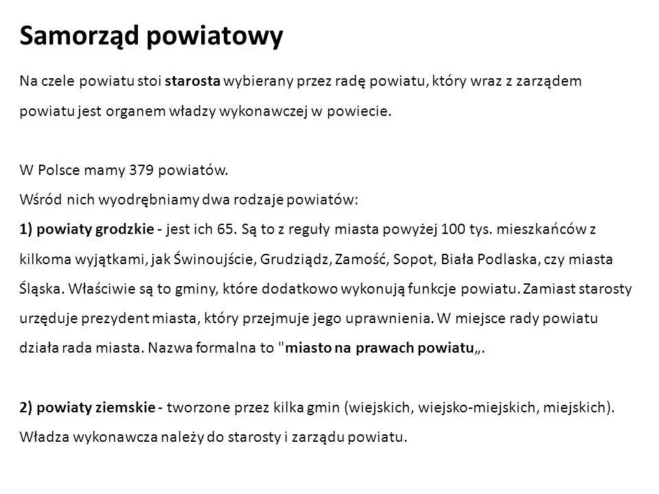 Na czele powiatu stoi starosta wybierany przez radę powiatu, który wraz z zarządem powiatu jest organem władzy wykonawczej w powiecie. W Polsce mamy 3