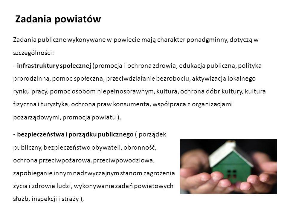 Zadania powiatów Zadania publiczne wykonywane w powiecie mają charakter ponadgminny, dotyczą w szczególności: - infrastruktury społecznej (promocja i