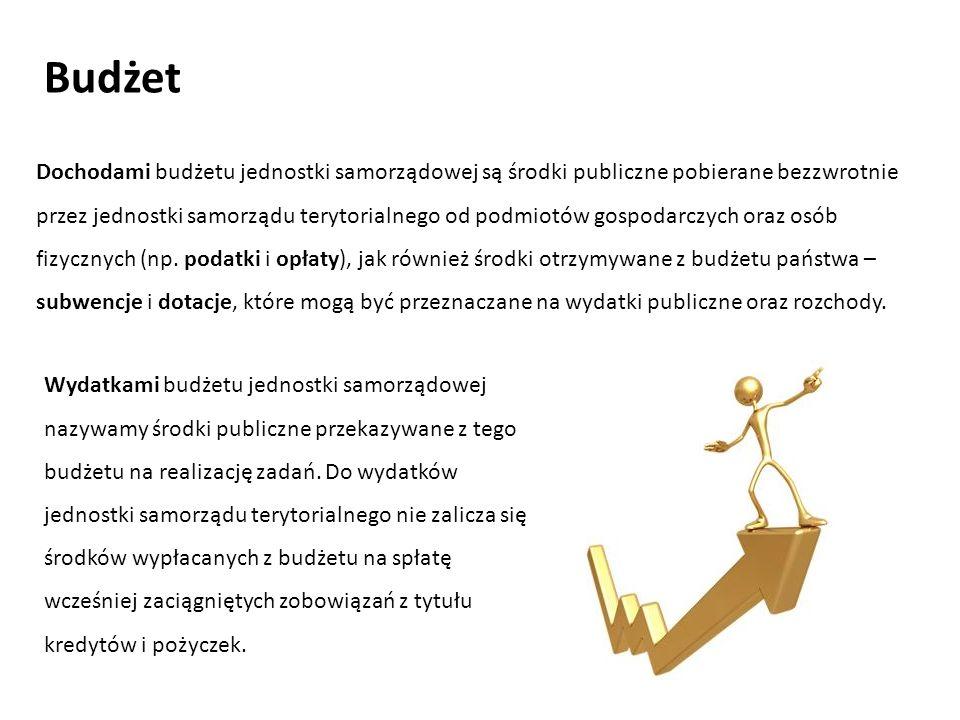 Dochodami budżetu jednostki samorządowej są środki publiczne pobierane bezzwrotnie przez jednostki samorządu terytorialnego od podmiotów gospodarczych oraz osób fizycznych (np.