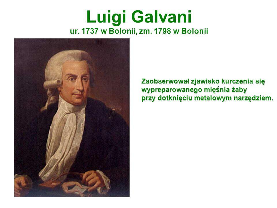 Luigi Galvani ur. 1737 w Bolonii, zm. 1798 w Bolonii Zaobserwował zjawisko kurczenia się wypreparowanego mięśnia żaby przy dotknięciu metalowym narzęd