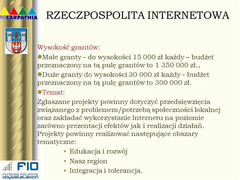 RZECZPOSPOLITA INTERNETOWA Wysokość grantów: Małe granty - do wysokości 15 000 zł każdy – budżet przeznaczony na tą pulę grantów to 1 350 000 zł., Duż