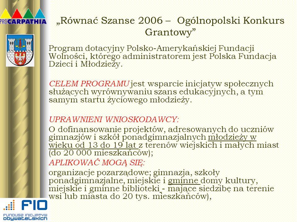 Równać Szanse 2006 – Ogólnopolski Konkurs Grantowy Program dotacyjny Polsko-Amerykańskiej Fundacji Wolności, którego administratorem jest Polska Funda