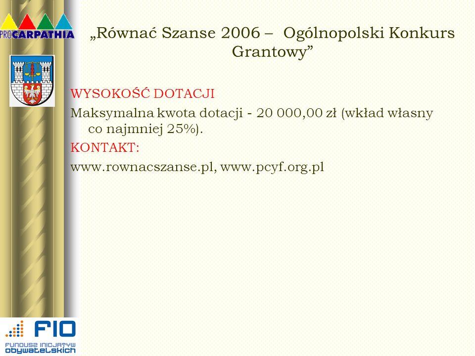 Równać Szanse 2006 – Ogólnopolski Konkurs Grantowy WYSOKOŚĆ DOTACJI Maksymalna kwota dotacji - 20 000,00 zł (wkład własny co najmniej 25%). KONTAKT: w