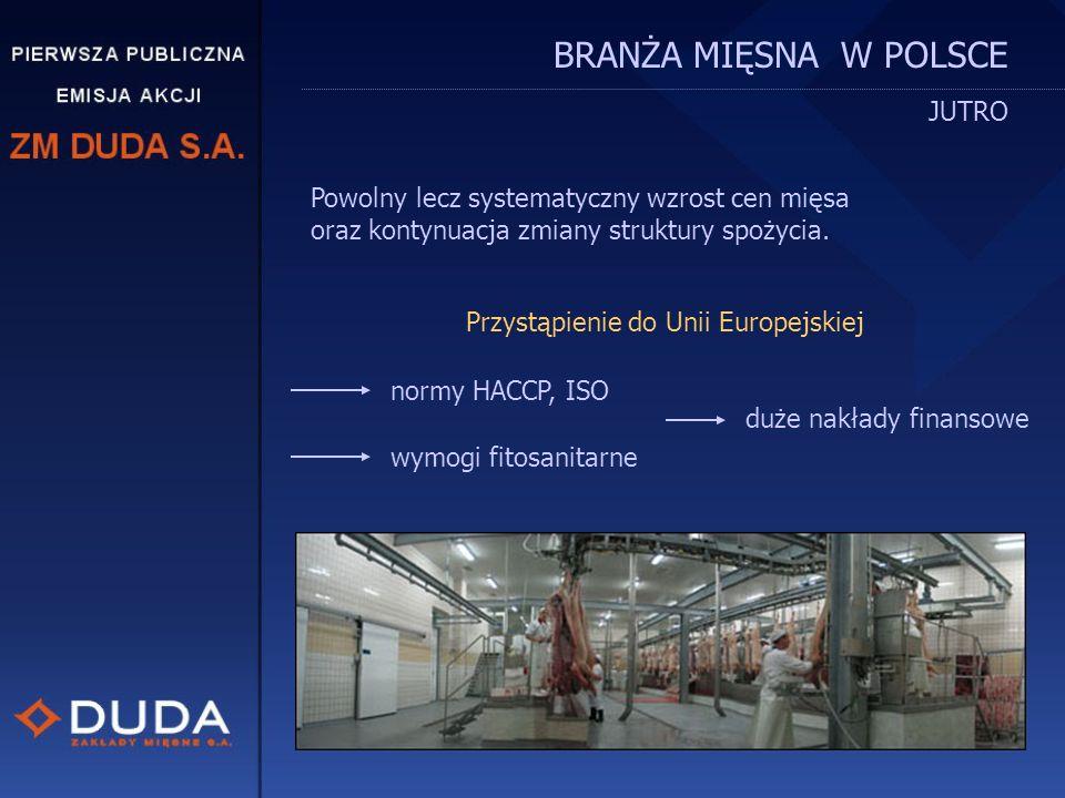 BRANŻA MIĘSNA W POLSCE DZISIAJ W drodze do Unii Europejskiej: konsolidacja dużych i średnich firm upadek i likwidacja małych firm wzrost spożycia mięs