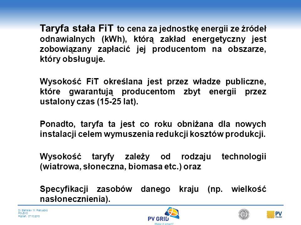 Dr Stanislaw M. Pietruszko POLEKO Poznań, 07.10.2013 Mechanizmy wsparcia są fundamentalnym czynnikiem wzrostu rozwoju OZE wielu krajach. Ważnym elemen