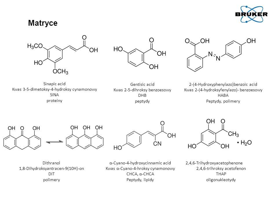 Matryce Sinapic acid Kwas 3-5-dimetoksy-4-hydroksy cynamonowy SINA proteiny Gentisic acid Kwas 2-5-dihroksy benzoesowy DHB peptydy 2-(4-Hydroxyphenyla