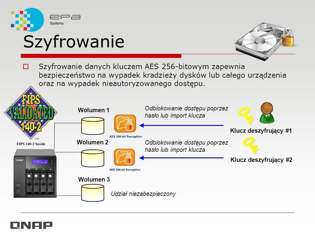 Szyfrowanie Szyfrowanie danych kluczem AES 256-bitowym zapewnia bezpieczeństwo na wypadek kradzieży dysków lub całego urządzenia oraz na wypadek nieau